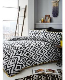 Geo Pom Pom Single Duvet Cover and Pillowcase Set