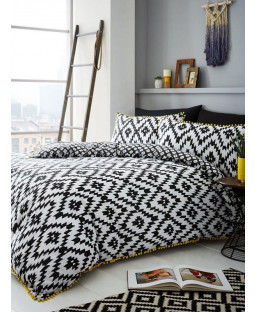 Geo Pom Pom King Duvet Cover and Pillowcase Set