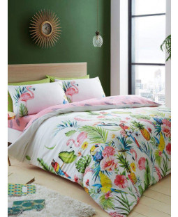 Leila Tropical Single Duvet Cover and Pillowcase Set