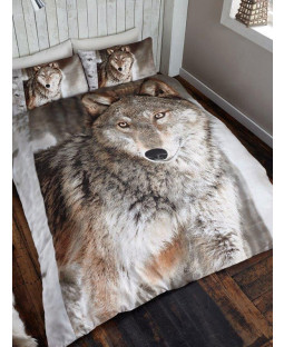 3D Wolf Double Duvet Cover and Pillowcase Set