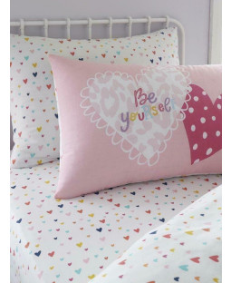 Hearts Double Pink Fitted Sheet and Pillowcase Set
