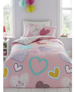Hearts Single Pink Duvet Cover and Pillowcase Set