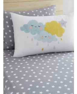 Clouds and Stars Single Fitted Sheet and Pillowcase Set