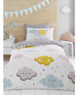 Clouds and Stars Single Duvet Cover and Pillowcase Set