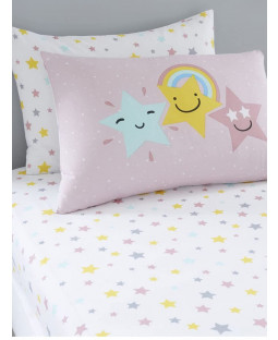 Hello Star Double Pink Fitted Sheet and Pillowcase Set
