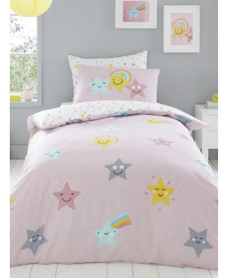 Hello Star Single Pink Duvet Cover and Pillowcase Set