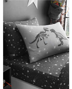 Space T-Rex Stars Single Fitted Sheet and Pillowcase Set