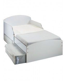 White Toddler Bed with Storage Plus Deluxe Foam Mattress