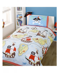 'Treasure Quest' Pirate Single Duvet Cover and Pillowcase Set