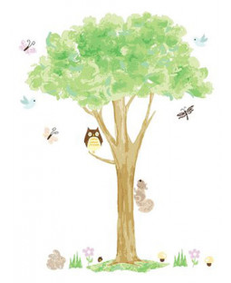 Tree and Owl Wallpops Wall Art Sticker Kit - 28 Pieces