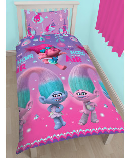 Trolls Glow Single Duvet Cover Set - Rotary Design purple