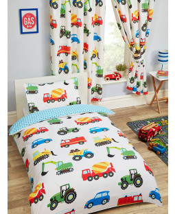 Trucks and Transport 4 in 1 Toddler Bedding Bundle Set (Duvet, Pillow and Covers)