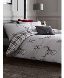 Catherine Lansfield Stag King Size Duvet Cover Set - Silver