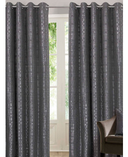 Belle Maison Lined Eyelet Curtains - Tuscany Range, Silver