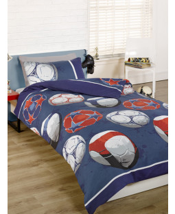 Football Double Duvet Cover and Pillowcase Set - Blue