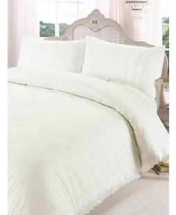 Juego de funda de almohada y funda de almohada Victoria Cream individual