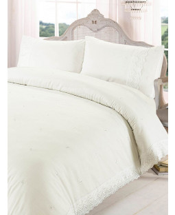 Victoria Cream Super King Duvet Cover and Pillowcase Set