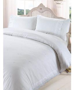 Victoria White Super King Duvet Cover and Pillowcase Set