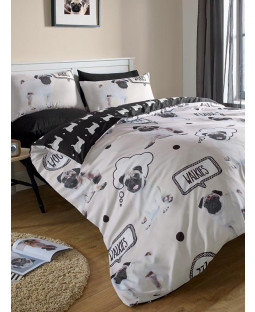 Pug Walkies Single Duvet Cover