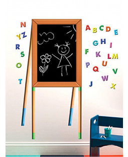 Wallies Chalkboard Easel and Alphabet Wall Sticker