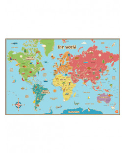 Wallpops Kids Laminated World Map con Dry Erase Pen