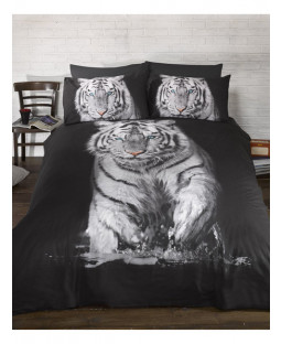 White Tiger Single Duvet Cover and Pillowcase Set