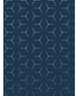 Navy Blue and Gold Illusion Metro Geometric Wallpaper WOW005