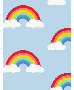 Rainbow Wallpaper Sky Blue and Multi - World of Wallpaper WOW042