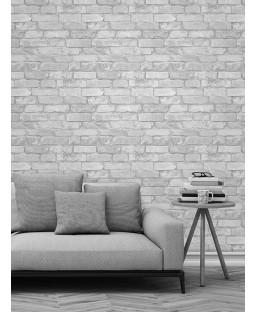 Papel pintado blanco y plateado efecto ladrillo rústico - Windsor Wallcoverings FD41488
