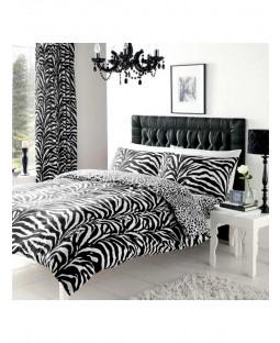 Zebra and Leopard Print King Size Reversible Duvet Cover Set