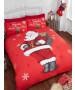 Juego de funda nórdica y funda de almohada doble Navidad de Santa Stop Here