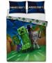 Ensemble housse de couette et taie d'oreiller double Minecraft Creeps