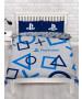 Set copripiumino matrimoniale e federa blu Playstation
