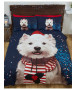 Christmas Westie Dog King Duvet Cover and Pillowcase Set