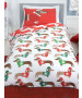 Christmas Sausage Dog Single Duvet Cover and Pillowcase Set