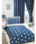 Navy Blue and White Stars 4 in 1 Junior Bedding Bundle Set (Duvet, Pillow and Covers)