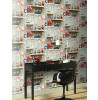 Boys Life Bookshelf Wallpaper - Multi - 696000 Arthouse