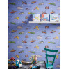 Zoom Away Vehicles Wallpaper Blue Feature Wall Arthouse 696203
