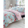 Birdie Blossom Floral Double Duvet Cover and Pillowcase Set - Blue