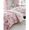 Pink Birdie Blossom Floral King Size Funda nórdica y juego de funda de almohada