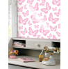 Butterflies Pink and White Wallpaper - Fine Decor