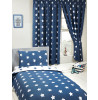 Navy Blue and White Stars Lined Curtains 66 inch x 72 inch