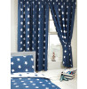 Navy Blue and White Stars Curtains Bedroom 168cm x 183cm