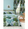 Tropical Palm Leaves Lined Curtains with Tie Backs