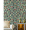 Flora Nouveau Crown Archives Wallpaper Peacock Green M1196