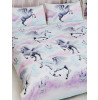 Stardust Unicorn Double Duvet Cover and Pillowcase Set - Purple and Teal