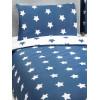 Ensemble de housse de couette et taie d'oreiller junior Stars bleu marine et blanc