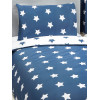 Navy Blue and White Stars Single Duvet Cover and Pillowcase Set