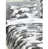 Grey Army Camouflage Reversible Single Duvet Cover and Pillowcase Set