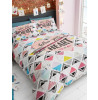 Geometric and Heart Double Duvet Cover and Pillowcase Set